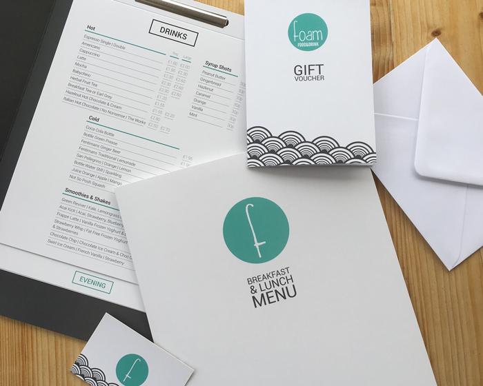 Foam Restaurant Menus and Gift Voucher